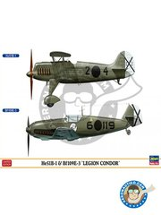 Hasegawa: Airplane kit 1/72 scale - He51B-1 & Bf109E-3 'Legión Condor' - August 1936 (ES3) - Spanish Civil War - plastic parts, water slide decals and assembly instructions