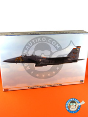 Hasegawa: Airplane kit 1/48 scale - McDonnell Douglas F-15 Eagle E - USAF (US2); USAF (US7) - 14th Wing Spanish Air Force, Turkey Shoot training mission 2005 and 2012 - photo-etched parts, plastic parts, water slide decals and assembly instructions image