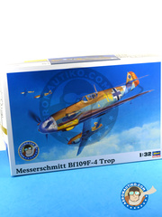 Hasegawa: Airplane kit 1/32 scale - Messerschmitt Bf 109 F-4 Trop - Luftwaffe (DE2) - Guadalcanal 1942 - plastic model kit image