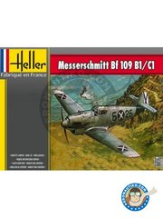 Heller: Airplane kit 1/72 scale - Messerschmitt Bf 109 B1/C1 - plastic parts, water slide decals and assembly instructions