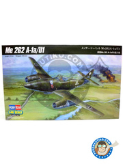 Hobby Boss: Airplane kit 1/48 scale - Messerschmitt Me 262 Schwalbe A-1a/U1 - plastic parts, water slide decals and assembly instructions