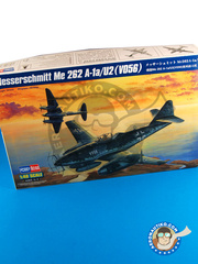 Hobby Boss: Airplane kit 1/48 scale - Messerschmitt Me 262 Schwalbe A-1a / U2 (V056) - plastic parts, water slide decals and assembly instructions