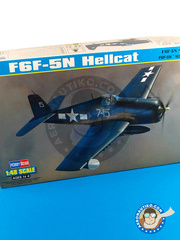 Hobby Boss: Airplane kit 1/48 scale - Grumman F6F Hellcat 5N - plastic parts, water slide decals and assembly instructions