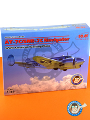 ICM: Airplane kit 1/48 scale - Beechcraft Model 18 AT-7C / SNB-2C Navigator - US Navy (US7); Royal Netherlands AF (NL0) 1944, 1945 and 1950 - plastic parts, water slide decals and assembly instructions image
