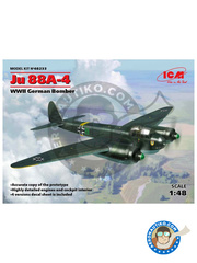 ICM: Airplane kit 1/48 scale - Junkers Ju 88 A-4 - Luftwaffe (DE2) - World War II 1942 - plastic parts, water slide decals and assembly instructions