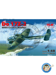 ICM: Airplane kit 1/48 scale - Dornier Do 17 Fliegender Bleistift Z-2 - Luftwaffe (DE2) - World War II 1940, 1941, 1942 - plastic parts, water slide decals and assembly instructions