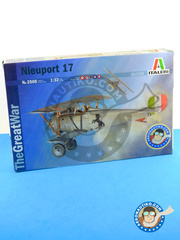 Italeri: Airplane kit 1/32 scale - Nieuport 17 - Armée de l'Air (HU3); British Pacific Fleet, Task Force 57, Febraury 1945 (NZ2); Italy, early 1944. (GB1); Russian Empire (RU1) - World War I - plastic parts and water slide decals image