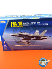 Kinetic Model Kits: Airplane kit 1/48 scale - McDonnell Douglas F/A-18 Hornet A+ / B / CF-188 - Royal Canadian Air Force (GB4); Royal Australian Air Force RAAF (AU0); (ES0) 2014, 2015 and 2016 - photo-etched parts, plastic parts, water slide decals and assembly instructions image