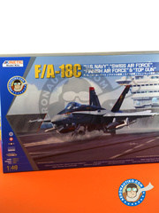 Kinetic Model Kits: Airplane kit 1/48 scale - McDonnell Douglas F/A-18 Hornet C - Swiss Air Force (CH0); US Navy (US1); US Navy (US0) - photo-etched parts, plastic parts, water slide decals and assembly instructions image