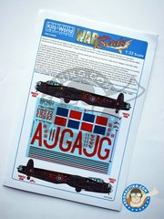 Kits World: Marking / livery 1/32 scale - Avro Lancaster B III | Markings - based at RAF Lossiemouth in Scotland (GB4) - RAF 1943 - water slide decals and placement instructions - for all kits