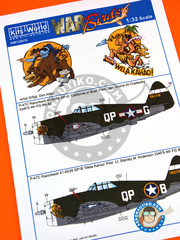 Kits World: Marking / livery 1/32 scale - Republic P-47 Thunderbolt C Razorback - USAF (US6); USAF (US5) - Ukranian - water slide decals and assembly instructions - for Trumpeter reference 02262