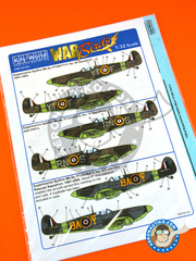 Kits World: Marking / livery 1/32 scale - Supermarine Spitfire Mk. IIa - RAF (GB3) - RAF - water slide decals and placement instructions - for Revell reference REV03986 image