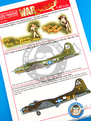 Kits World: Marking / livery 1/48 scale - Boeing B-17 Flying Fortress - 1944 (US7); early 1944 (US7) - water slide decals and placement instructions - for Revell reference REV04297