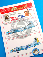 Kits World: Marking / livery 1/48 scale - Boeing B-17 Flying Fortress - Bassingborn, 1944 (US7); June 2011 (US7) - USAF 1941 and 2011 - water slide decals, placement instructions and painting instructions - for all kits