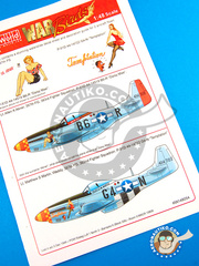 "Kits World: Marking / livery 1/48 scale - North American P-51 Mustang D - ""Daisy Mae"" (US7); ""Temptation"" (US7) 1944 - water slide decals, placement instructions and painting instructions - for Airfix reference A05131"