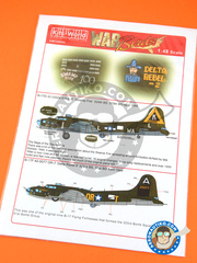 Kits World: Decals 1/48 scale - Boeing B-17 Flying Fortress - USAF (US7); USAF (US5) - Ukranian 1944 - for Revell reference REV04297