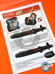 Kits World: Marking / livery 1/48 scale - Avro Lancaster B MK. I/III - RAF (GB4) - Guadalcanal 1943 and 1944 - water slide decals and assembly instructions - for Tamiya references TAM61105, TAM61111 and TAM61112 image