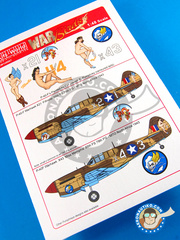 Kits World: Decals 1/48 scale - Curtiss P-40 Warhawk F - USAF (US5) - World War II 1943 - water slide decals and placement instructions - for Curtiss P-40 Warhawk
