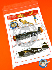 Kits World: Marking / livery 1/48 scale - Republic P-47 Thunderbolt D Razorback - USAF (US7) 1944 - water slide decals and assembly instructions - for Tamiya reference TAM61086