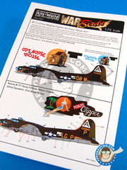 Kits World: Decals 1/72 scale - Boeing B-17 Flying Fortress F G - USAF (US5) - World War II 1944 - for Airfix kit A08017