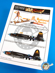 Kits World: Marking / livery 1/72 scale - Martin B-26 Marauder - August 1943 (US7); Essex 1944 (US7) - USAF 1944 - water slide decals and painting instructions - for all kits