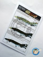 "Kits World: Marking / livery 1/72 scale - Decals for McDonnell Douglas F-4B ""Phantom"" - South Vietnam, May 1966 (US0); USS Kitty Hawk. (US0); Patuxent River, Maryland, 1970's (US0) - water slide decals and placement instructions - for all kits"