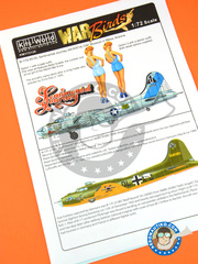 Kits World: Marking / livery 1/72 scale - Boeing B-17 Flying Fortress F G - USAF (US7); Luftwaffe (DE2) - World War II - water slide decals and assembly instructions - for Airfix kit A08017, or Hasegawa kit 01961, or Revell kit REV04297