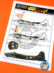 Kits World: Marking / livery 1/72 scale - Boeing B-17 Flying Fortress Mk. III - RAF Coastal Command (GB4); RAF (GB4) - Guadalcanal 1944 - water slide decals and assembly instructions
