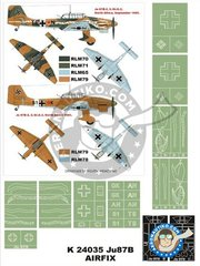 Montex Mask: Masks 1/24 scale - Ju-87B-2 (Snake) - Lybia, summer 1941 (DE2); September 1941 (DE2) - Luftwaffe - paint masks - for Airfix kit reference A18002A