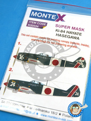 Montex Mask: Masks 1/32 scale - Nakajima Ki-84 Hayate - Nakatsu, Japan, Spring 1945 (JP0) - Japan 1945 - paint masks, placement instructions and painting instructions - for Hasegawa kits