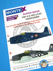 Montex Mask: Masks 1/32 scale - Grumman F6F Hellcat 3 / 5 - May 1954 (FR1); British Pacific Fleet, Task Force 57, Febraury 1945 (NZ2) 1945 and 1954 - paint masks, placement instructions and painting instructions - for Hasegawa kits