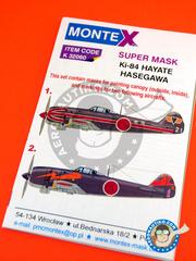 Montex Mask: Masks 1/32 scale - Nakajima Ki-84 Hayate - IJAAF (JP0) - for Hasegawa reference 088740