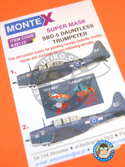 Montex Mask: Masks 1/32 scale - Douglas SBD Dauntless 5 - Piva, Bougainville, April 1944 (NZ2) - RAF 1944 - paint masks, water slide decals and assembly instructions - for kit Trumpeter