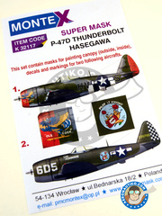 Montex Mask: Masks 1/32 scale - Republic P-47 Thunderbolt D  - USAF (US7) - Luke Air Force, Arizona 1945 - paint masks, water slide decals and placement instructions - for Hasegawa reference 08218