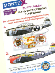 Montex Mask: Masks 1/32 scale - Republic P-47 Thunderbolt D Bubbletop - USAF (US7) - World War II 1944, 1945 - decals, masks - for Hasegawa kit 08218