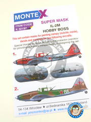 Montex Mask: Masks 1/32 scale - Ilyushin IL-2 Shturmovik M - Stepanyan, 1944 (RU2); Tartu, October 1944 (RU2) 1944 - paint masks, water slide decals and placement instructions - for Hobby Boss kits