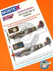 Montex Mask: Masks 1/32 scale - Supermarine Spitfire Mk. IX - Norweigan, North Weald, May 1943 (GB4); Forli, Italy, January 1945 (ZA2) - Ukranian - paint masks, white metal parts and placement instructions - for Tamiya kit