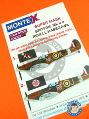 Montex Mask: Masks 1/32 scale - Supermarine Spitfire Mk. IIa  - Ibsley, May 1941 (GB3); Northolt, May 1941 (GB3) - RAF - paint masks, water slide decals, placement instructions and painting instructions - for Revell or Hasegawa
