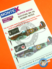 Montex Mask: Masks 1/32 scale - Supermarine Spitfire Mk. Vb - July 1941 (GB3); early 1942 (GB3) - paint masks, water slide decals, placement instructions and painting instructions - for Hobby Boss kit