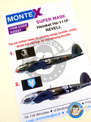 Montex Mask: Masks 1/32 scale - Heinkel He 111 P - September 1939. (DE2); August 1939. (DE2) 1939 - paint masks, water slide decals, placement instructions and painting instructions - for Revell kits image