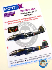 Montex Mask: Masks 1/32 scale - Heinkel He 111 P-1 - Spring 1940. (DE2); Hungarian Air Force, Poltava, January 1943. (HU6) - paint masks, water slide decals, placement instructions and painting instructions - for Revell kits