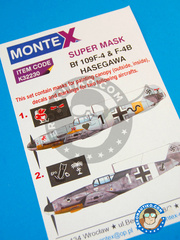 Montex Mask: Masks 1/32 scale - Messerschmitt Bf 109 F-4/F-4B - for Hasegawa references 08221 and 08881