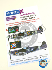 Montex Mask: Masks 1/32 scale - Supermarine Spitfire Mk. Vb - Squadron Leader Bernard Duperier, August 1942 (GB4); August 1942 (US5) - Royal Air Force Station Hornchurch , Royal Air Force Station Debden 1942 - paint masks, water slide decals and placement instructions image