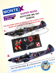 Montex Mask: Masks 1/32 scale - Supermarine Spitfire Mk. XVI - April 1945 (GB4); Germany, Summer 1945 (GB3) 1945 - paint masks, water slide decals, placement instructions and painting instructions - for Tamiya kits
