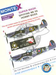 Montex Mask: Masks 1/32 scale - Supermarine Spitfire Mk. Vb - Tangmere, September 1941 (GB3); June 1942 (GB4) - RAF 1941 and 1942 - paint masks, water slide decals, placement instructions and painting instructions - for Hobby Boss kits