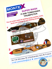 Montex Mask: Masks 1/32 scale - Curtiss P-40 Warhawk B Tomahawk - China, 1941 (TW2); Lybia, December 1941 (GB3) 1941 - paint masks, water slide decals, placement instructions and painting instructions - for Trumpeter kits.