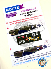 Montex Mask: Masks 1/32 scale - Curtiss P-40 Warhawk M - 1943 (US5); 1944 (NZ6) 1943 and 1944 - paint masks, water slide decals, placement instructions and painting instructions - for Hasegawa kits.