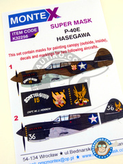 Montex Mask: Masks 1/32 scale - Curtiss P-40 Warhawk E - Darwin, Australia 1942 (US5); Darwin, Australia 1942 (US4) 1942 - paint masks, water slide decals and placement instructions - for Hasegawa kits.