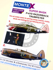 Montex Mask: Masks 1/32 scale - Republic P-47 Thunderbolt D Razorback - Italy, October 1944 (US7); Arkonam, November 1944 (GB5) - Ukranian, Arkonam 1944 - paint masks, water slide decals and assembly instructions - for Trumpeter reference 02262
