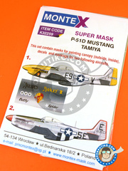 Montex Mask: Masks 1/32 scale - North American P-51 Mustang D - England (US7); December 1943 (US7) 1945 - paint masks, water slide decals, placement instructions and painting instructions - for Tamiya kits.